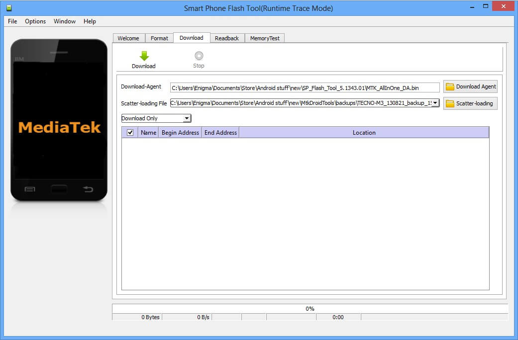 Select Preloader file -SP Flash Tool