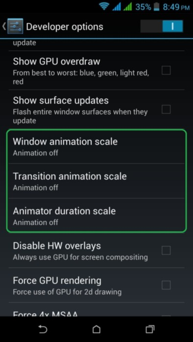 Disable Animations in Android
