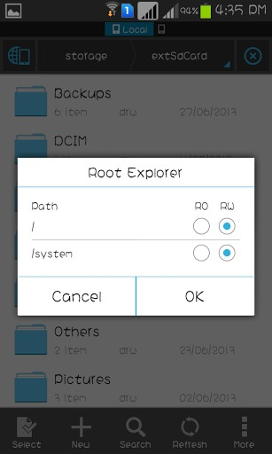 Enable Read & Write in ES File Explorer