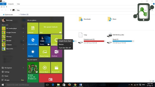 Remove tiles from Start Menu