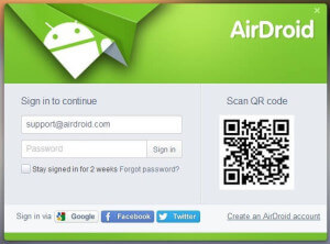 airdroid account pc home page