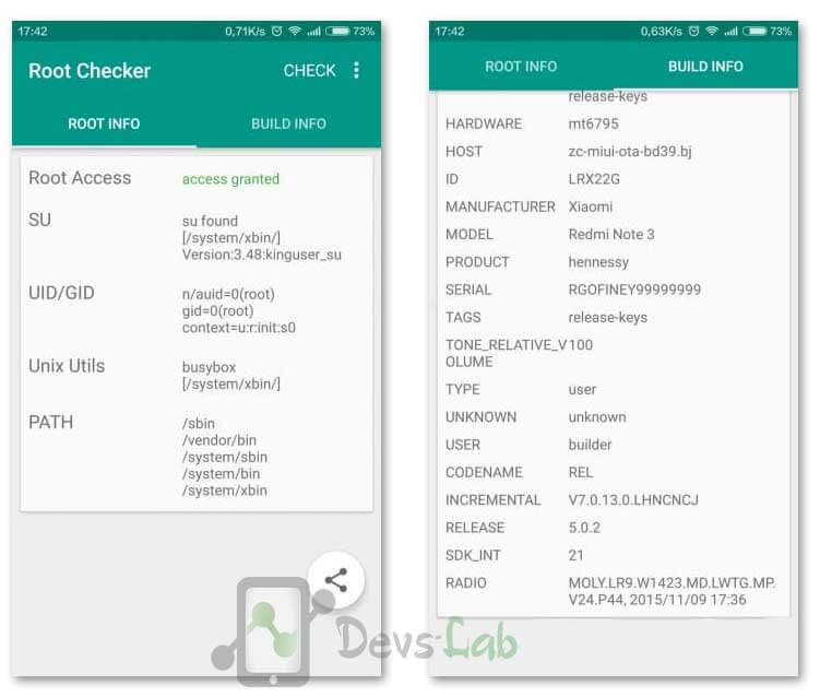 Root Checker shows Xioami Redmi Note 3 Rooted Successfully!