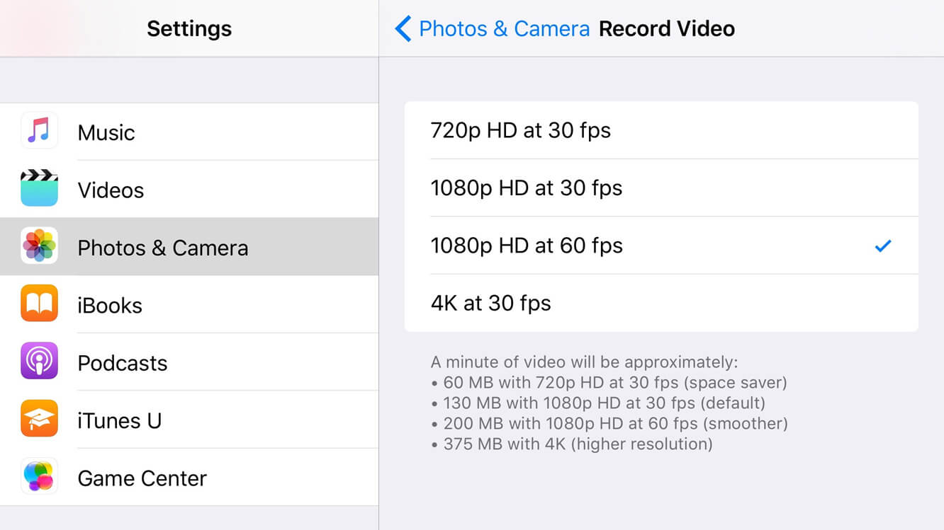 Change Video Recording Resolution in iOS 9