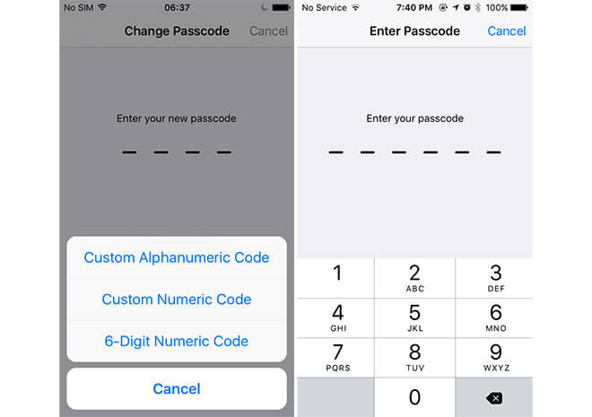 Digit Passcode option in iOS 9