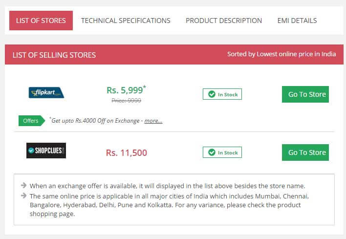 SuperSmartdeals Lenovo K3 Note Price Comparision