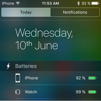iPhone Battery widget in iOS 9