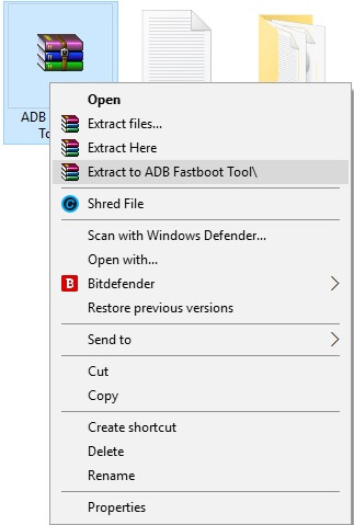 Select Extract To ADB Fastboot Tool