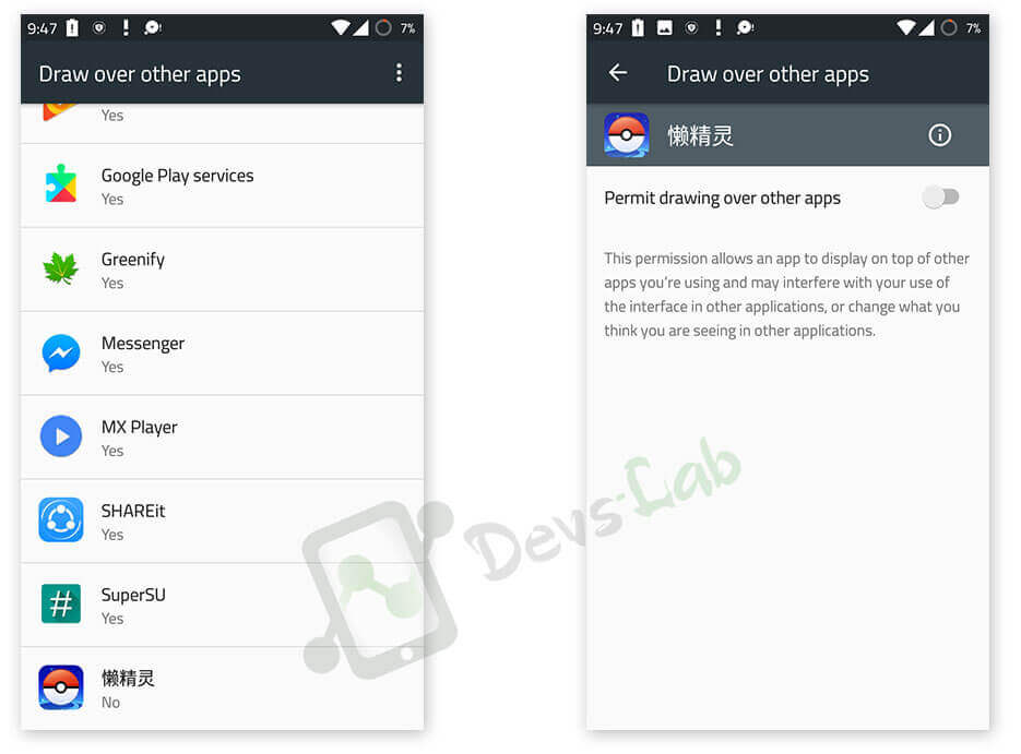 Pokemon GO hack draw over other apps