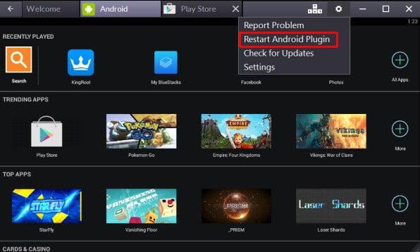 Restart Android Plugin Bluestacks - Pokemon GO for PC