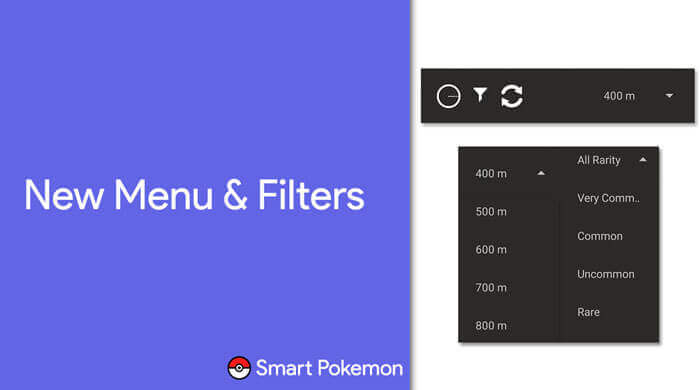 Smart Pokemon App features new menu filters