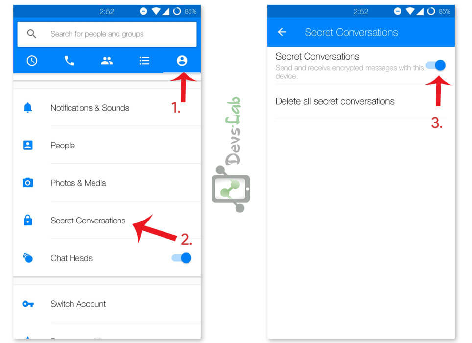 How to activate Secret conversation in Facebook messenger