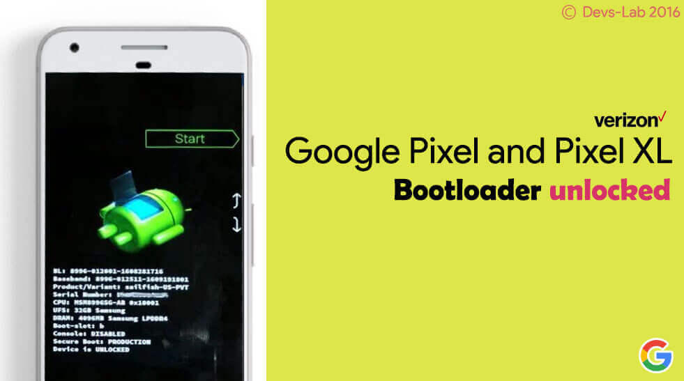 Unlock Bootloader on Verizon Google Pixel and Pixel XL