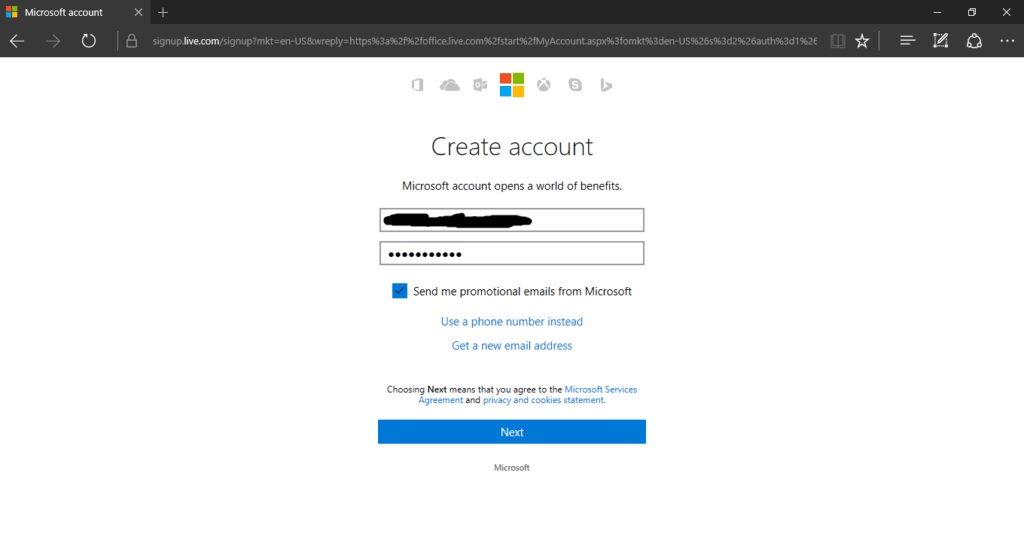 Creating an account for Microsoft Office Online
