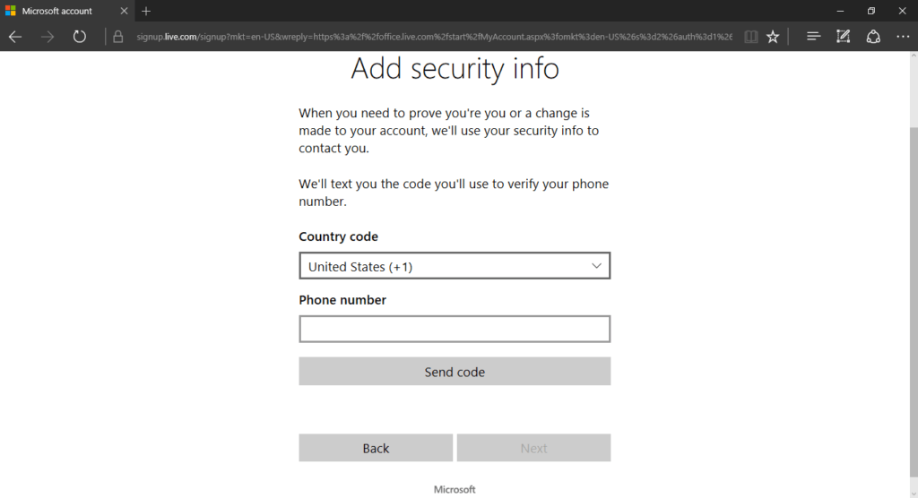 Adding Security Info for Microsoft Account (Office download)