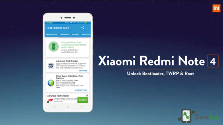 How to Root Xiaomi Redmi Note 4, unlock Bootloader & Install TWRP Recovery