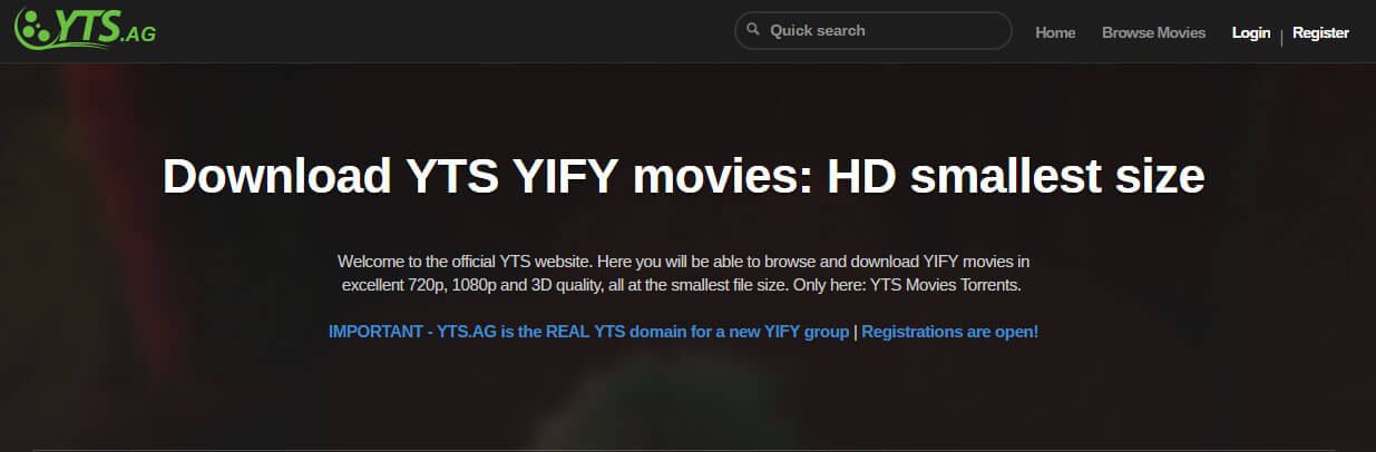 YTS.AG Torrent - Best torrent websites of 2019