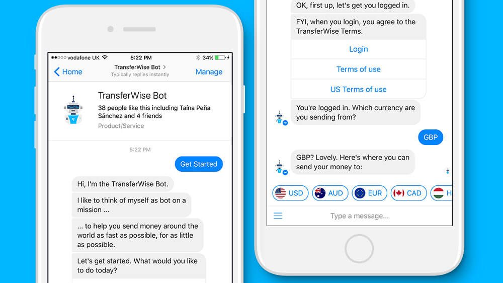 Facebook Messenger allows transferring money through TransferWise Chat bot