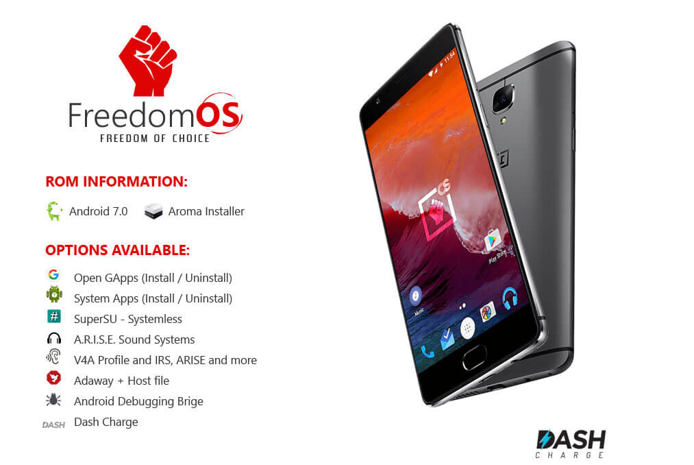 Freedom OS for OnePlus 3 and OnePlus 3T - Top best ROMs for OnePlus 3