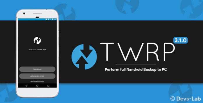 TWRP 3.1.0 prepares for full Nandroid backup to PC.