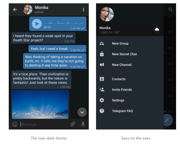 Telegram's Dark Theme