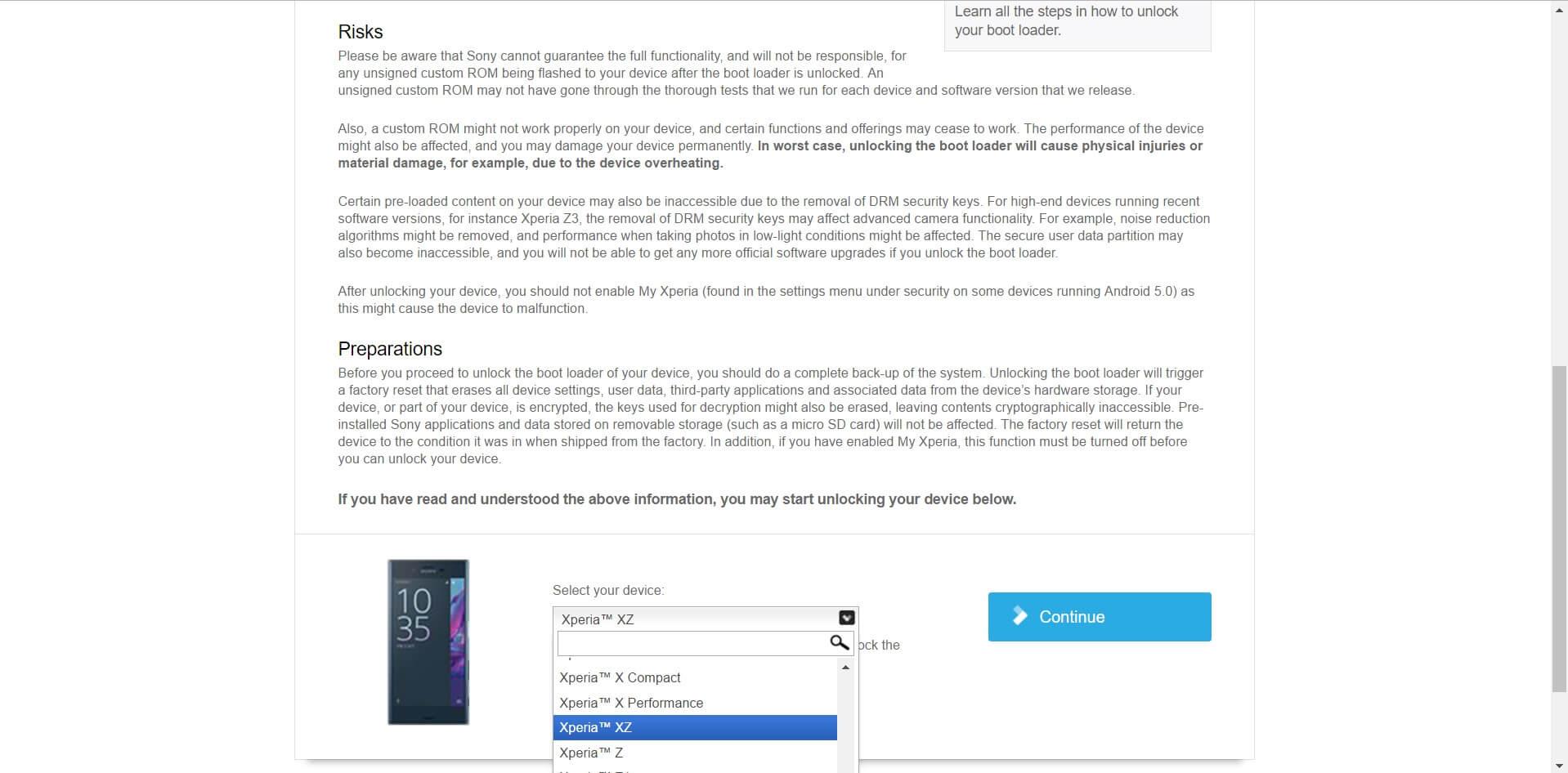 Sony Xperia XZ Unlock Code