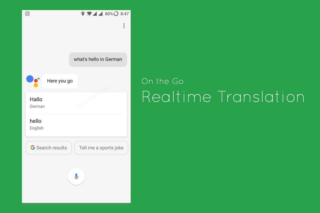 Do Realtime Translation using Google Assistant