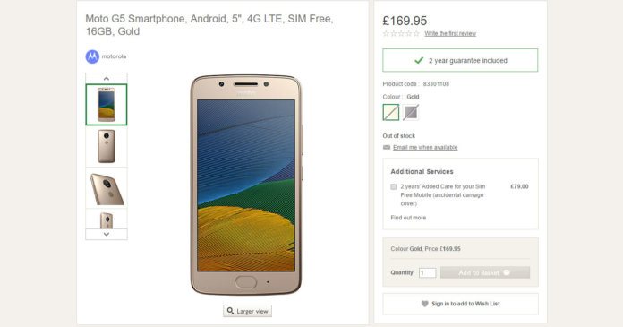 Moto G5 Plus spotted on Motorola Moto G5 listed on UK retailer for euro170