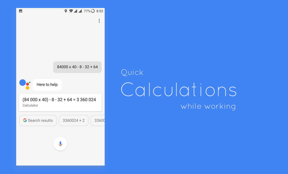 Quick Calculatons using Google Assistant
