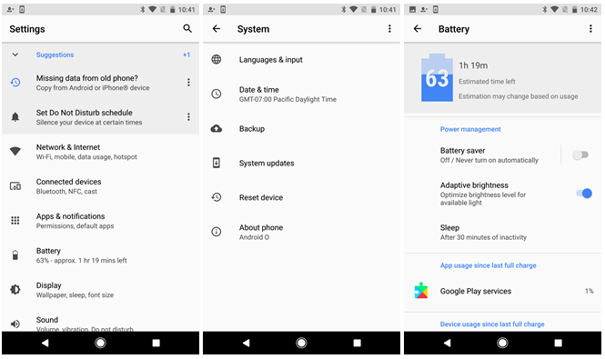 Settings App in Android O DP1