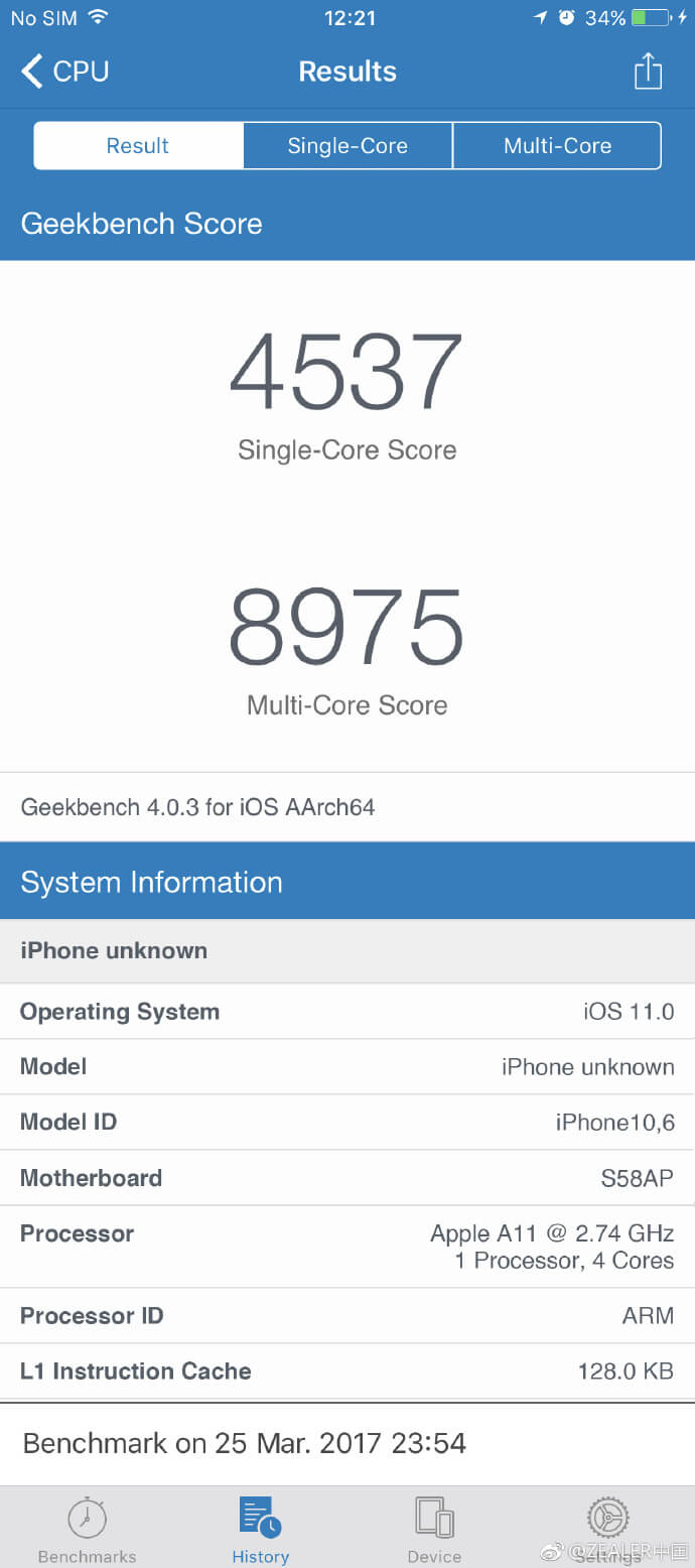 iPhone 8_Geekbench leak