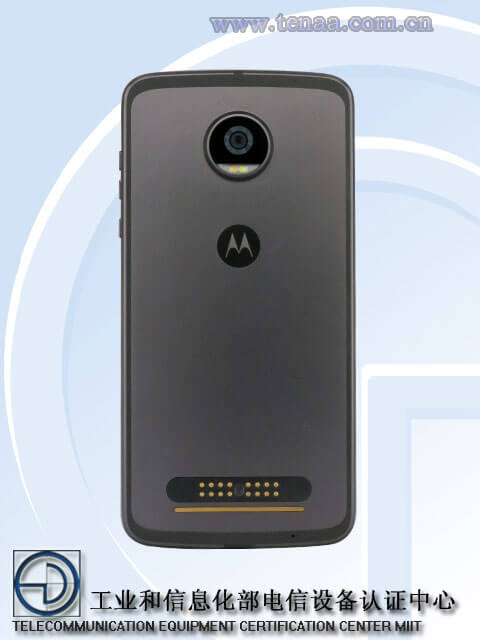 MOTO Z2 Play rear profile TENAA