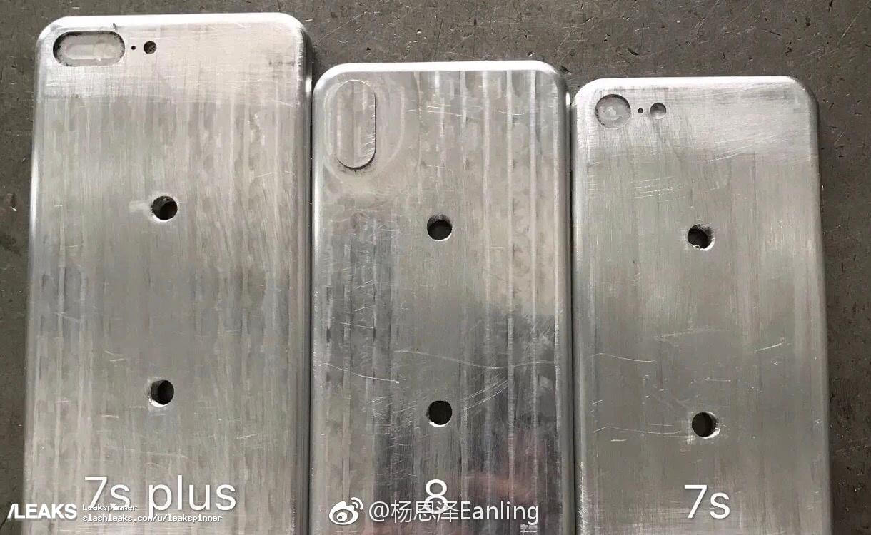 iPhone 8 iPhone 7s Plus iPhone 7s moulds in a row