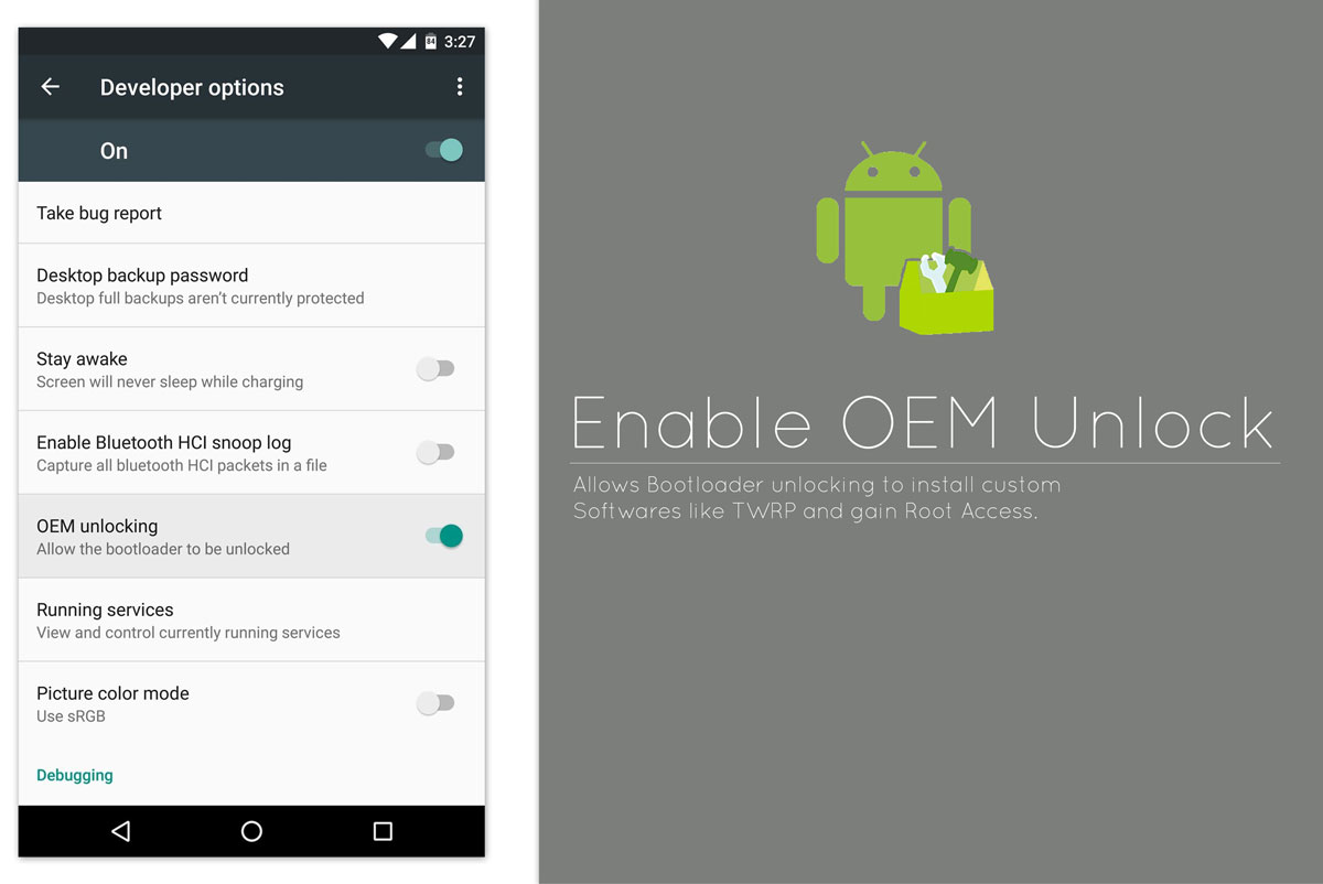 Enable OEM Unlock in Developer Options