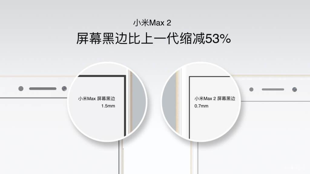 Xiaomi Mi Max 2 screen black border comparison