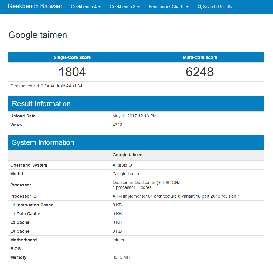 Google Taimen Geekbench leak_1