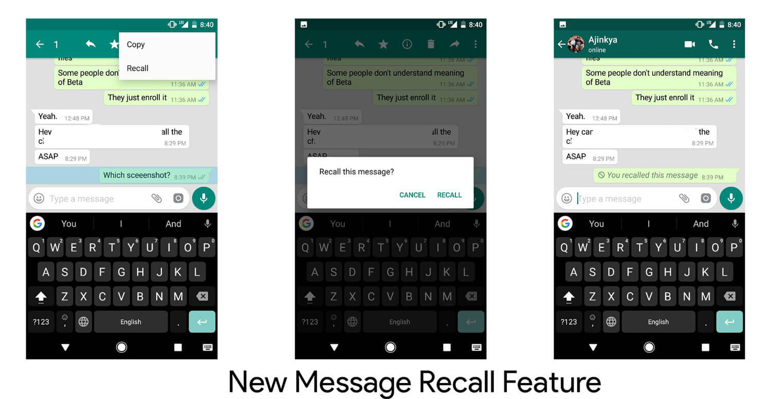 WhatsApp new Message Recall feature