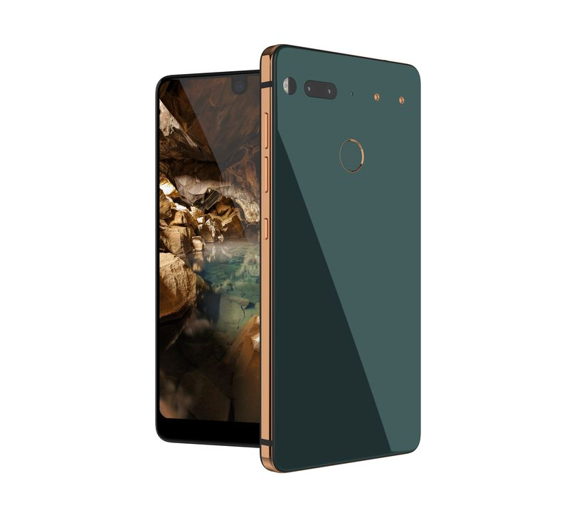 Essential smartphone green back-gold trim