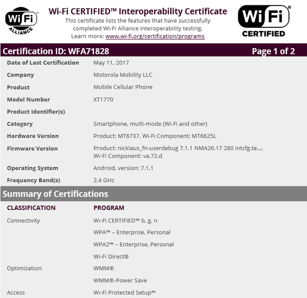 MOTO E MOTO C WiFi certification leak