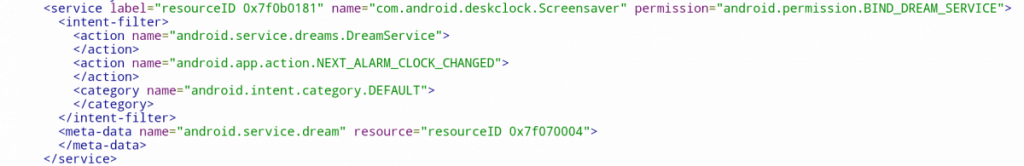 Android Manifest file from Google Clock
