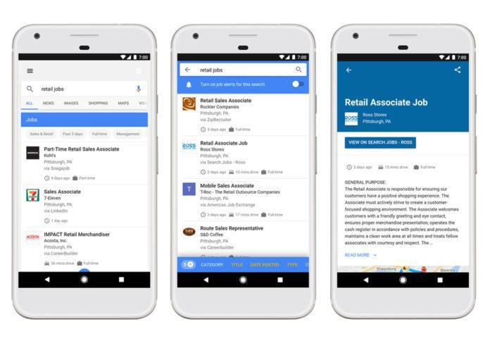 Google now shows Jobs near you