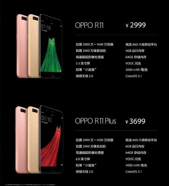 The OPPO R11 and R11 pricing