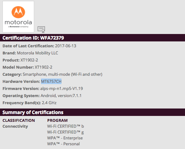 MOTO XT1902-2 WiFi Alliance certification