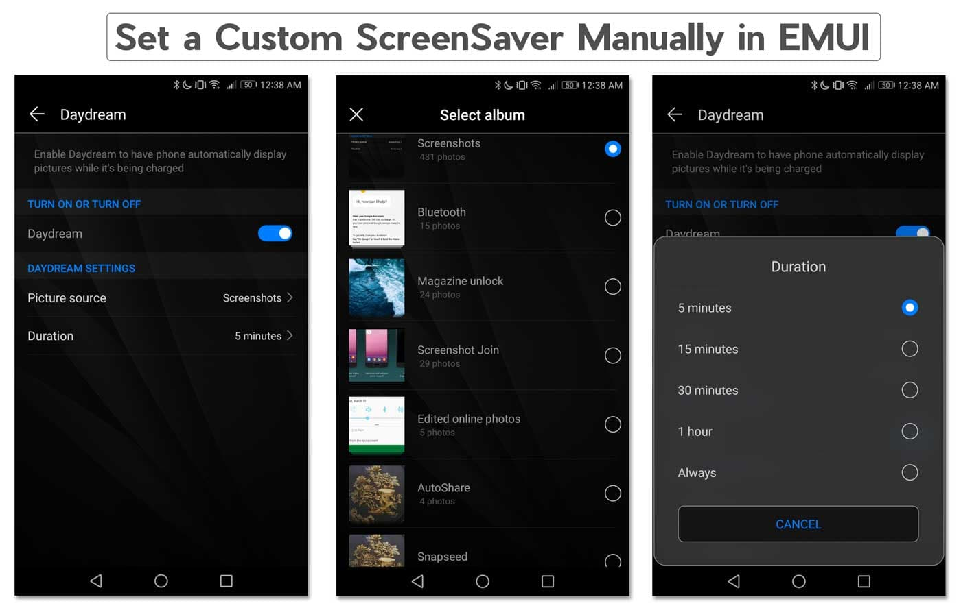 Set a Custom ScreenSaver Manually in EMUI