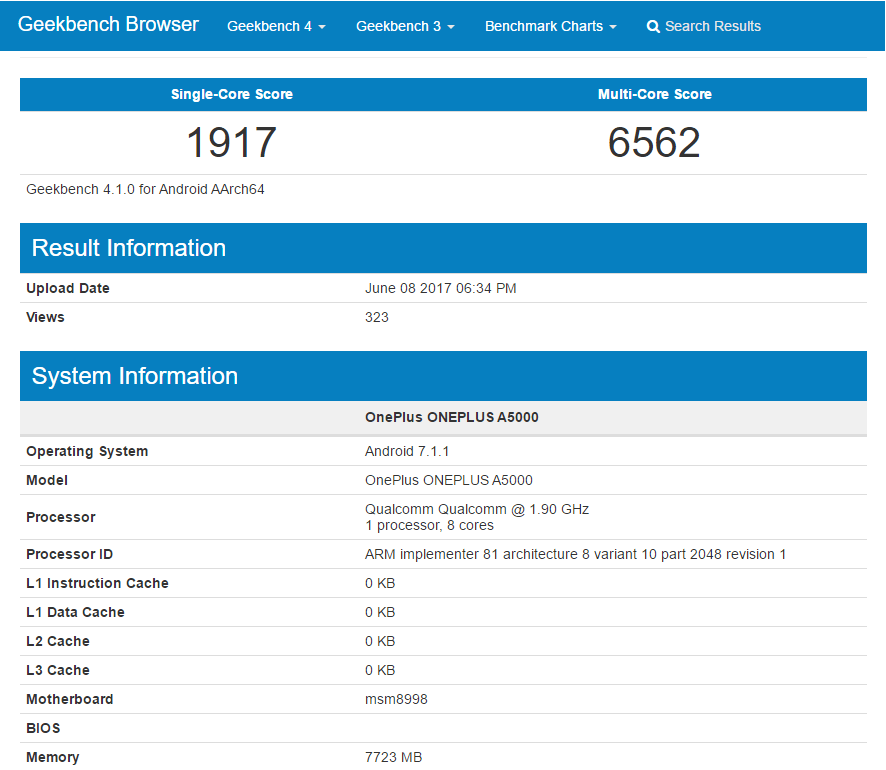 Geekbench OnePlus 5 pre-release performance
