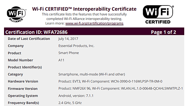 Essential PH-1/A11 WiFi Alliance interoperability certificate