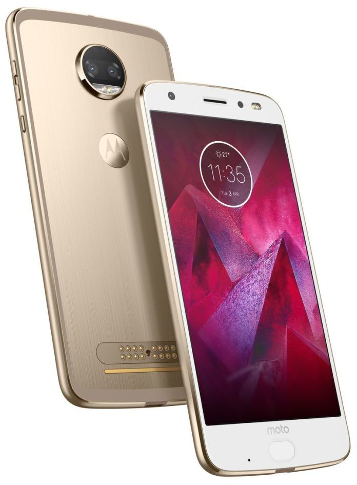 The MOTO Z2 Force White Front and Gold back
