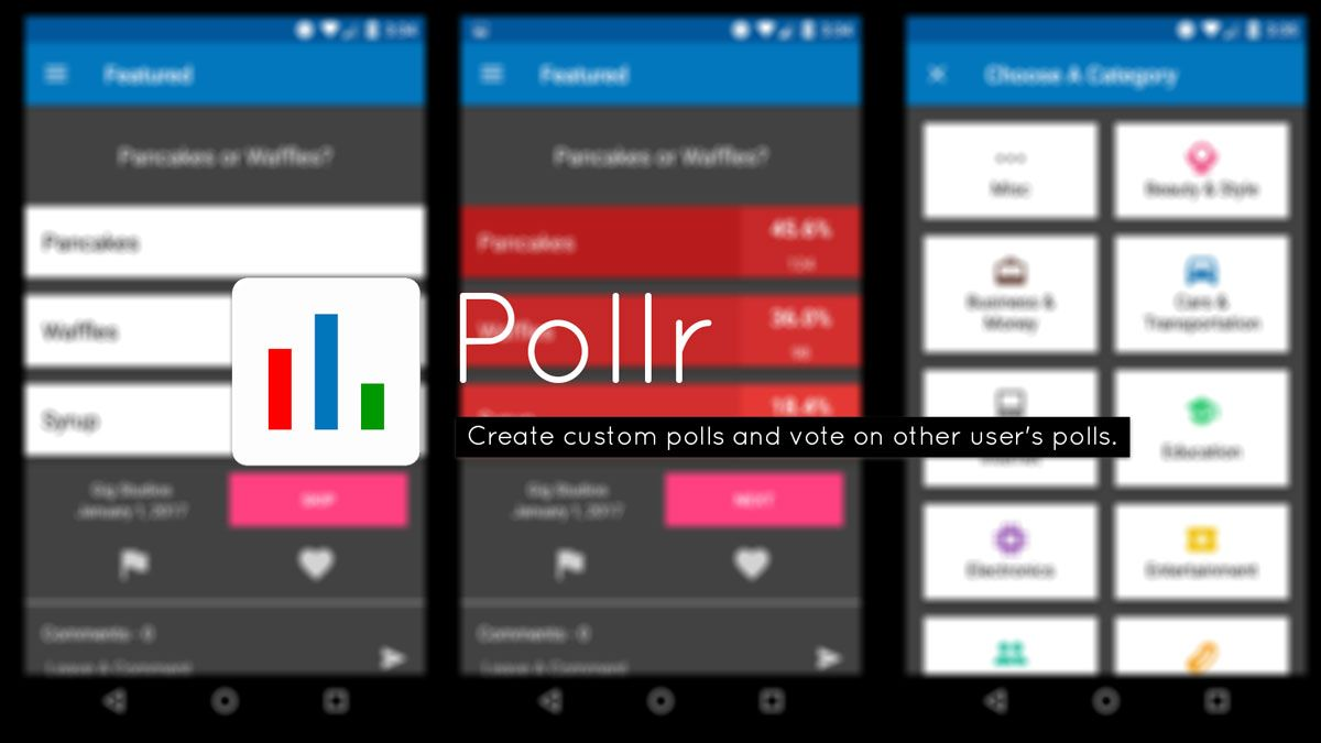 Pollr Android App for creating and voting Polls