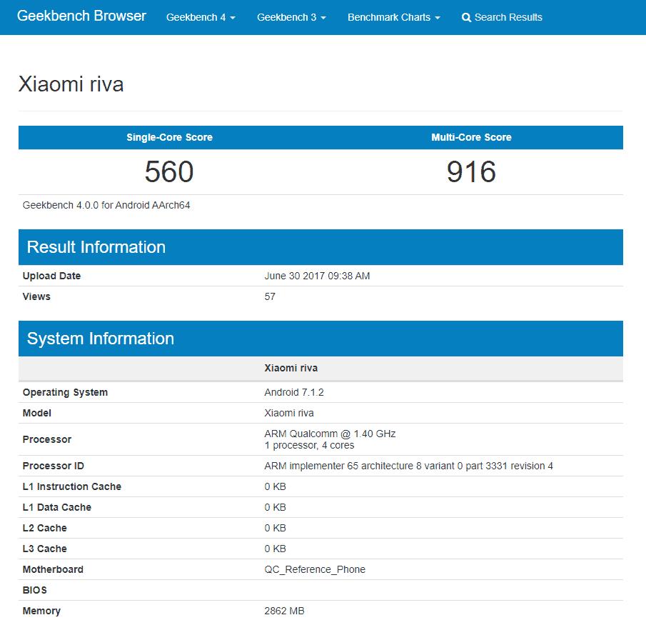 Xiaomi Riva Geekbench leak