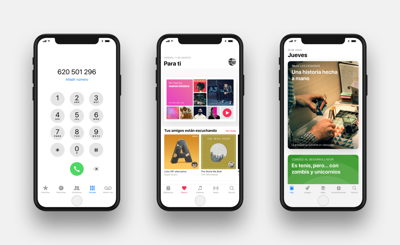 Phone, Apple Music and App Store mock up iPhone 8