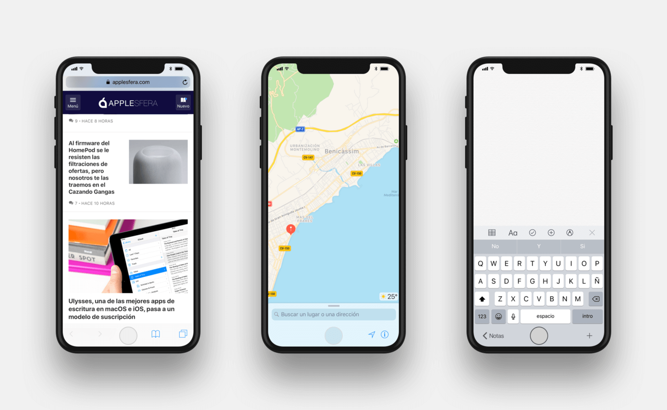 Safari, Maps and the Notes mock up iPhone 8